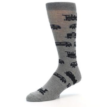 Image of Grey Black Trains Men's Dress Socks (side-2-09)