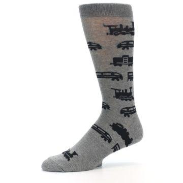 Image of Grey Black Trains Men's Dress Socks (side-2-10)