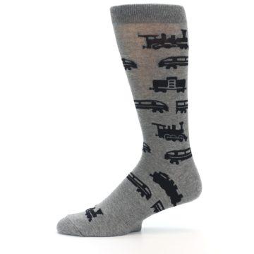Image of Grey Black Trains Men's Dress Socks (side-2-11)