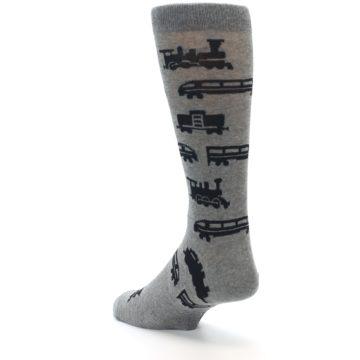 Image of Grey Black Trains Men's Dress Socks (side-2-back-15)