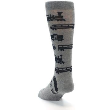 Image of Grey Black Trains Men's Dress Socks (side-2-back-16)