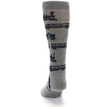 Image of Grey Black Trains Men's Dress Socks (back-17)