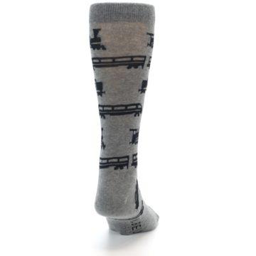 Image of Grey Black Trains Men's Dress Socks (back-19)