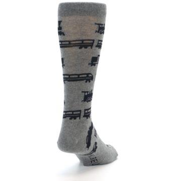Image of Grey Black Trains Men's Dress Socks (side-1-back-20)
