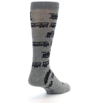 Image of Grey Black Trains Men's Dress Socks (side-1-back-21)
