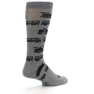 Image of Grey Black Trains Men's Dress Socks (side-1-back-22)