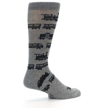 Image of Grey Black Trains Men's Dress Socks (side-1-23)