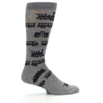 Image of Grey Black Trains Men's Dress Socks (side-1-24)