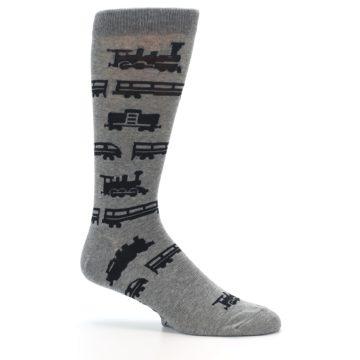 Image of Grey Black Trains Men's Dress Socks (side-1-25)