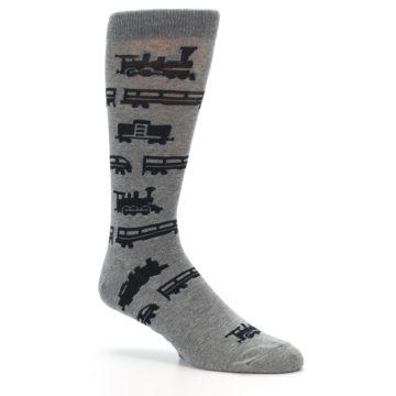 Image of Grey Black Trains Men's Dress Socks (side-1-26)