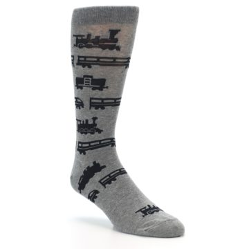 Image of Grey Black Trains Men's Dress Socks (side-1-27)