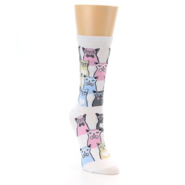 Image of White Pink Blue Cats Women's Dress Socks (side-1-front-02)