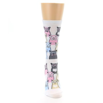 Image of White Pink Blue Cats Women's Dress Socks (front-04)