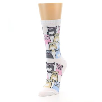 Image of White Pink Blue Cats Women's Dress Socks (side-2-front-08)