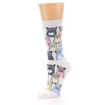 Image of White Pink Blue Cats Women's Dress Socks (side-2-09)