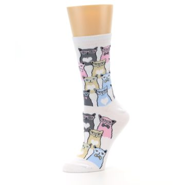 Image of White Pink Blue Cats Women's Dress Socks (side-2-10)