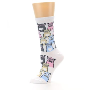 Image of White Pink Blue Cats Women's Dress Socks (side-2-11)
