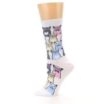 Image of White Pink Blue Cats Women's Dress Socks (side-2-12)