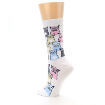Image of White Pink Blue Cats Women's Dress Socks (side-2-back-14)
