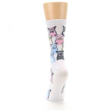 Image of White Pink Blue Cats Women's Dress Socks (back-17)