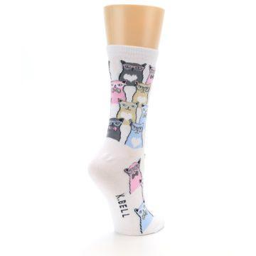 Image of White Pink Blue Cats Women's Dress Socks (side-1-back-22)