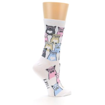 Image of White Pink Blue Cats Women's Dress Socks (side-1-24)