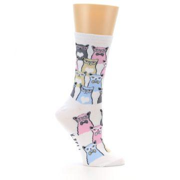 Image of White Pink Blue Cats Women's Dress Socks (side-1-25)