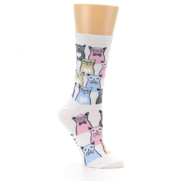 Image of White Pink Blue Cats Women's Dress Socks (side-1-26)
