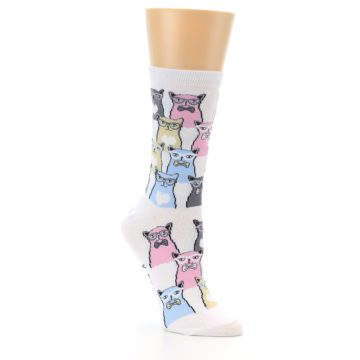Image of White Pink Blue Cats Women's Dress Socks (side-1-27)