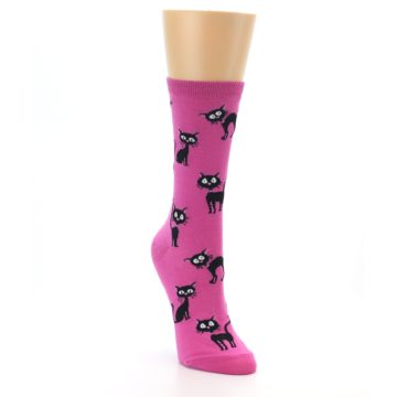 Image of Pink Black Cats Women's Dress Socks (side-1-front-02)