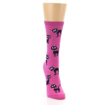 Image of Pink Black Cats Women's Dress Socks (side-1-front-03)