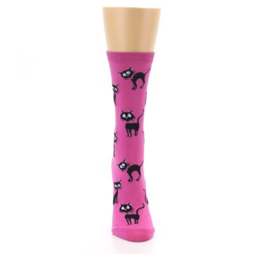 Image of Pink Black Cats Women's Dress Socks (front-04)