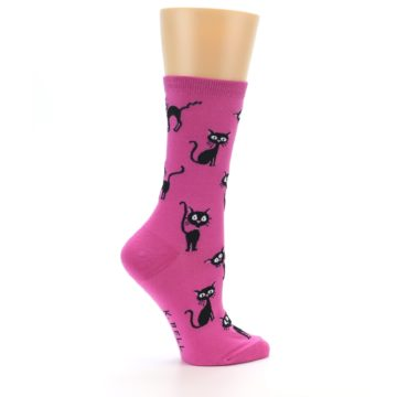 Image of Pink Black Cats Women's Dress Socks (side-1-24)