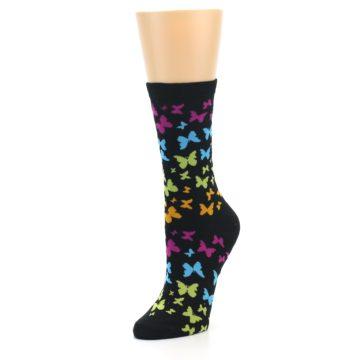 Image of Black Multi Butterflies Women's Dress Socks (side-2-front-08)