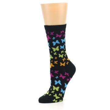 Image of Black Multi Butterflies Women's Dress Socks (side-2-09)