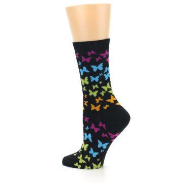 Image of Black Multi Butterflies Women's Dress Socks (side-2-13)