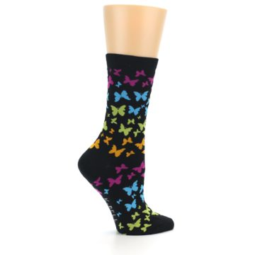 Image of Black Multi Butterflies Women's Dress Socks (side-1-24)