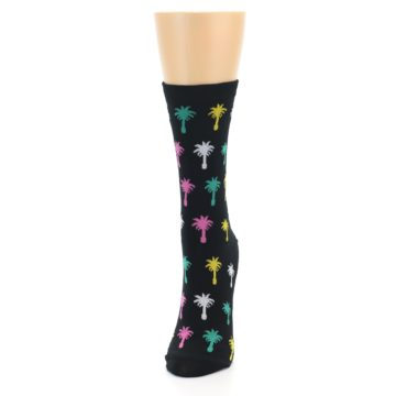 Image of Black Multi Palm Trees Women's Dress Socks (side-2-front-06)