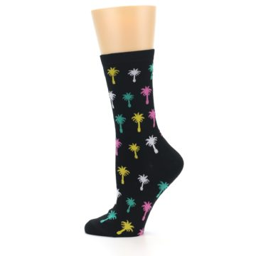 Image of Black Multi Palm Trees Women's Dress Socks (side-2-12)