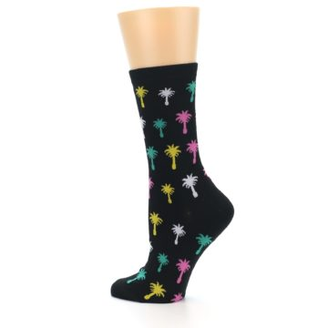 Image of Black Multi Palm Trees Women's Dress Socks (side-2-13)