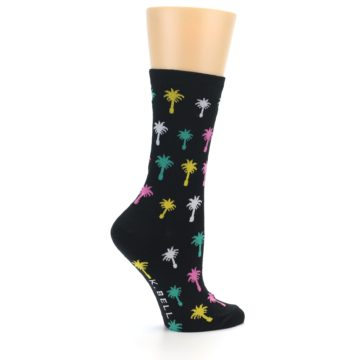 Image of Black Multi Palm Trees Women's Dress Socks (side-1-24)