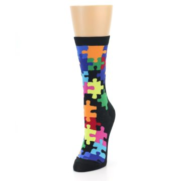 Image of Black Multi Puzzle Women's Dress Socks (side-2-front-07)
