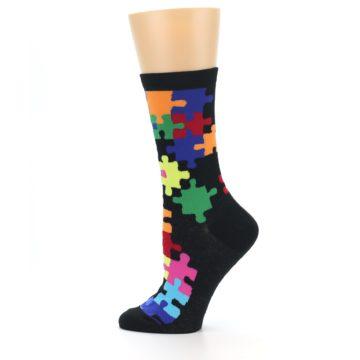 Image of Black Multi Puzzle Women's Dress Socks (side-2-12)