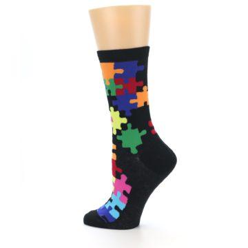 Image of Black Multi Puzzle Women's Dress Socks (side-2-13)