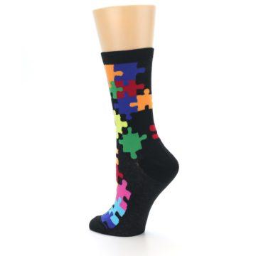 Image of Black Multi Puzzle Women's Dress Socks (side-2-back-14)