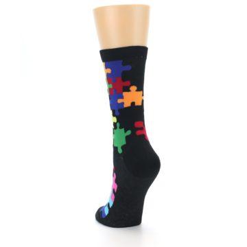 Image of Black Multi Puzzle Women's Dress Socks (side-2-back-16)