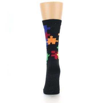 Image of Black Multi Puzzle Women's Dress Socks (back-18)