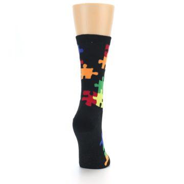 Image of Black Multi Puzzle Women's Dress Socks (side-1-back-20)
