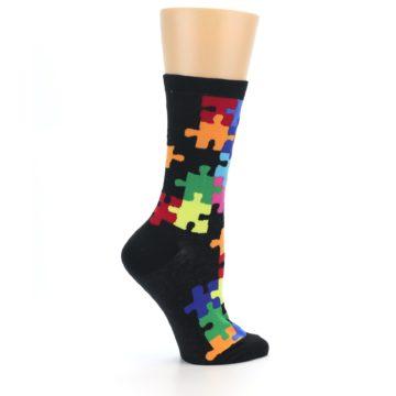 Image of Black Multi Puzzle Women's Dress Socks (side-1-24)