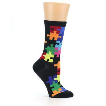 Image of Black Multi Puzzle Women's Dress Socks (side-1-25)